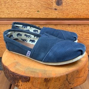 TOMS Navy Blue Classic Canvas Slip-On Shoes Flats